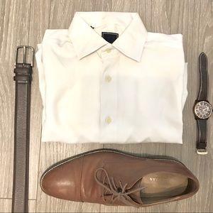 David Donahue White Regular Fit Button Down Shirt
